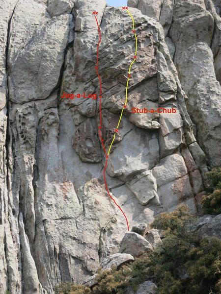Stub-a-Chub shares same first bolt as Jug-a-Lug then climb right through steep, fun juggy patina.