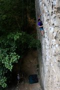 Rock Climbing Photo: Pulling on plates halfway up the route.