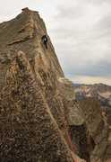 Rock Climbing Photo: Catie following the summit pitch on Warbonnet Peak