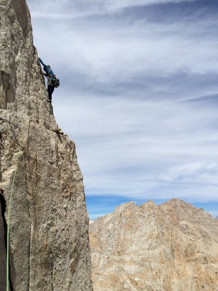 Amy Ness airing it out on P4 of Langley's North Arete V 5.10a