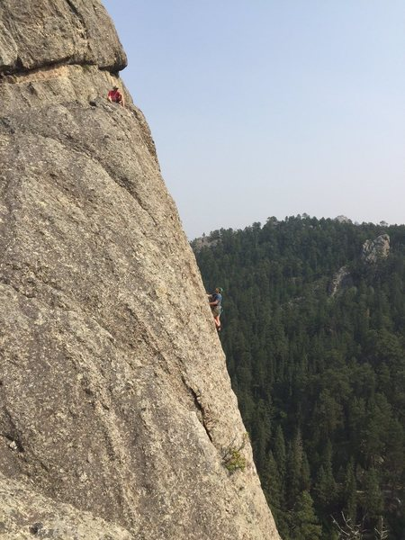 upper section of American Life.<br> EJ belaying Johnny Barfo..  <br> Great route...