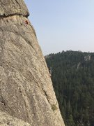 Rock Climbing Photo: upper section of American Life. EJ belaying Johnny...