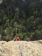 Rock Climbing Photo: upper route - EJ following...