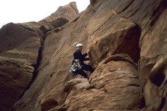 Rock Climbing Photo: Starting up pitch 1, 2003, with storm on its way. ...