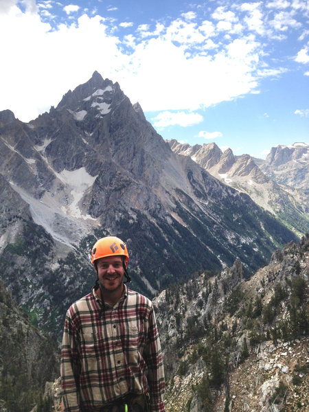 Rock Climbing Photo: me half way up Symmetry Spire in the Tetons, happy...