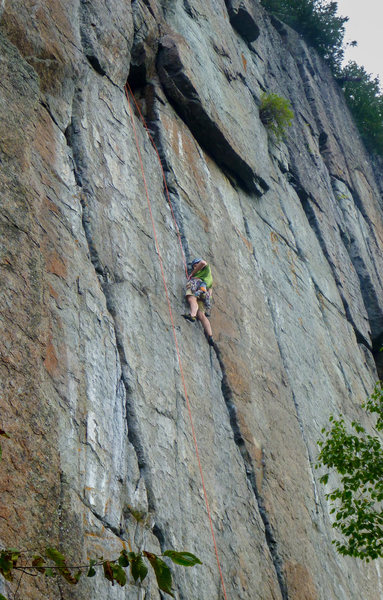 Rock Climbing Photo: Leighton at the decent rest ledge on the pumpy par...