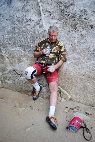 This 'stuff' just gets harder and harder - but I can't quit.  At my age (63 in photo), I pay a price for any of the physical routes I tangle with.<br> <br> After getting spanked on an 11c.