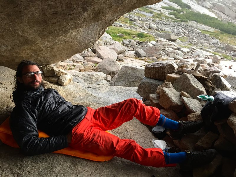 Rock Climbing Photo: Coming to an alpine stop in the Glacier Gorge bivy...