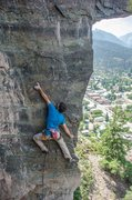 Rock Climbing Photo: Working through the pre-crux moves.  Photo by Moni...
