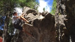 Rock Climbing Photo: Mikel Cronin topping out this great warm up