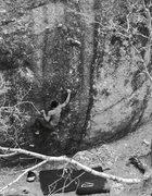 Rock Climbing Photo: John Andersen attempts a highball