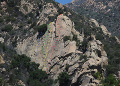 Rock Climbing Photo: The blue line is Written Exam (5.9 PG-13), in Ratt...