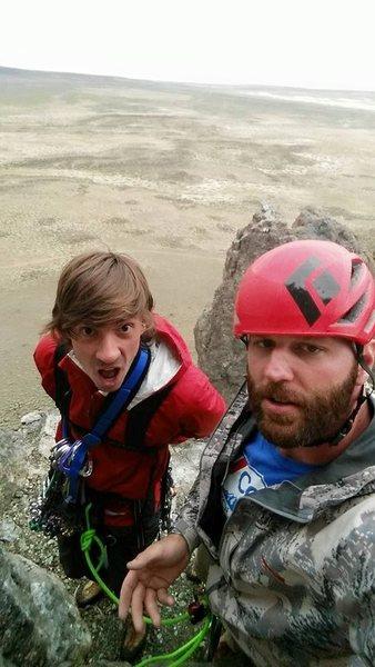 Rock Climbing Photo: summit fun on a rainy day with rotten bird crap :)