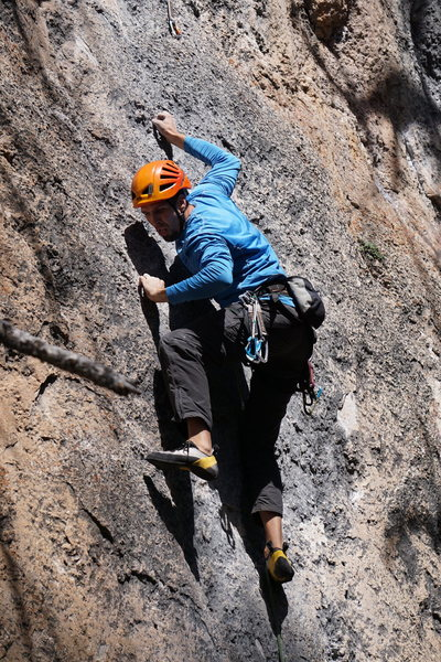 Steve on the opening crux