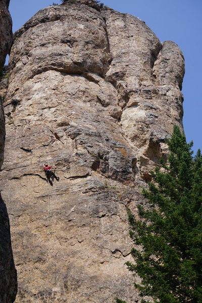 Steve approaching the crux