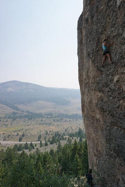 Rock Climbing Photo: Erica crushing the crux