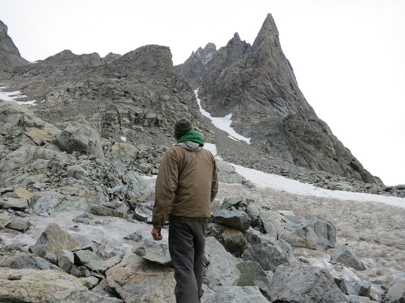 looking up at the NW ridge. photo by Jon Allen