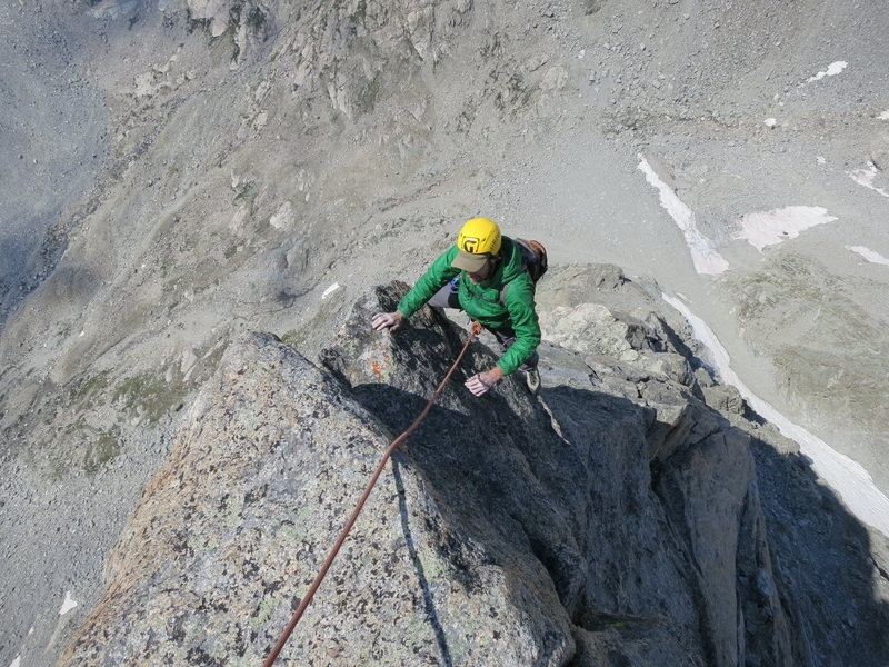 Rock Climbing Photo: Looking down one of the upper pitches. photo by Jo...