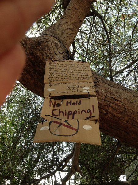 Rock Climbing Photo: Message left behind to the hold chipper.
