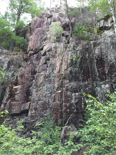 Rock Climbing Photo: From left to right there are ropes hanging on Clou...