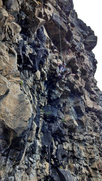 A steep route makes for easy lowering far from the wall (rappelling/cleaning not recommended for the leader).