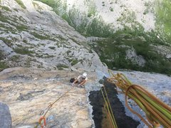 Rock Climbing Photo: Looking down on the first, sporty 7a