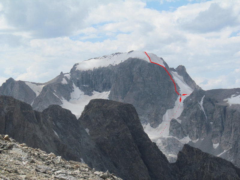Rock Climbing Photo: The general line of the Northeast Ridge on Gannett...
