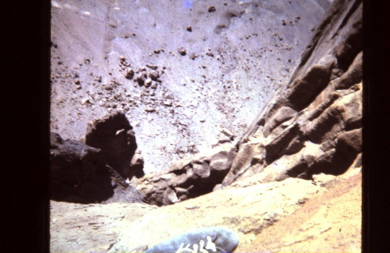 """On the Horn, looking down the West Face... Notice my """"Spider' climbing shoe, from REI."""