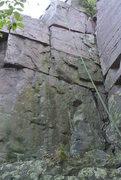 Rock Climbing Photo: +ULFBERHT+ climbs the line left of the green rope....