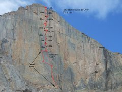 Rock Climbing Photo: Pitch breakdown of THIO. Pitch lengths are approxi...