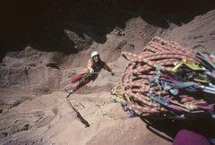 Rock Climbing Photo: Steep! Bill Roberts, 1992, jumaring to pitch 4, Ru...