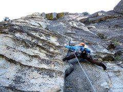 Rock Climbing Photo: Dow starting up Pitch 1.