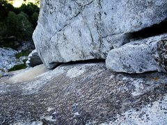 Rock Climbing Photo: Offwidth at the top of Pitch 1. Three #4's are nic...