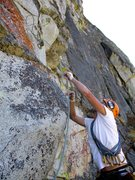 Rock Climbing Photo: Dow lassoing the horn at the start of Pitch 2.