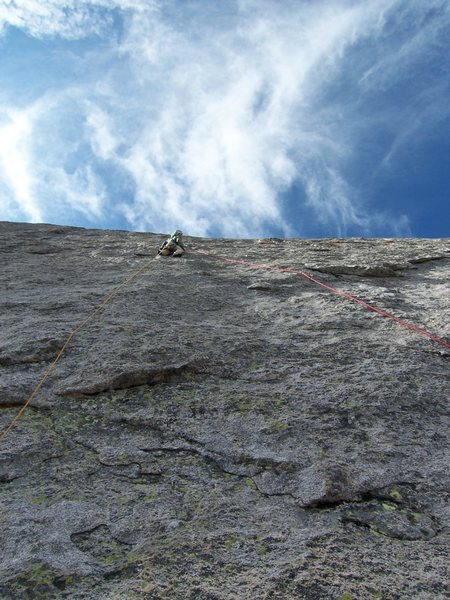 Just past the crux on p3 with a lot more rock to go!<br> <br> Photo by Guy H.