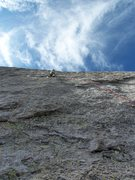 Rock Climbing Photo: Just past the crux on p3 with a lot more rock to g...