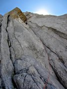 Rock Climbing Photo: Looking up the first pitch of Escape from Poland (...
