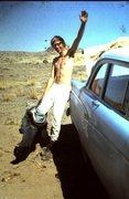 Rock Climbing Photo: John Parker at Shiprock... note my '56 Ford!
