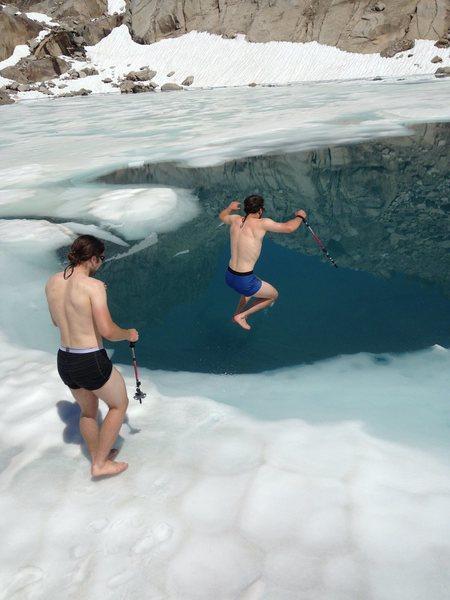 jumping in the tarn