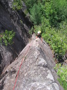 Ellen coming up the fun arete on The Sword