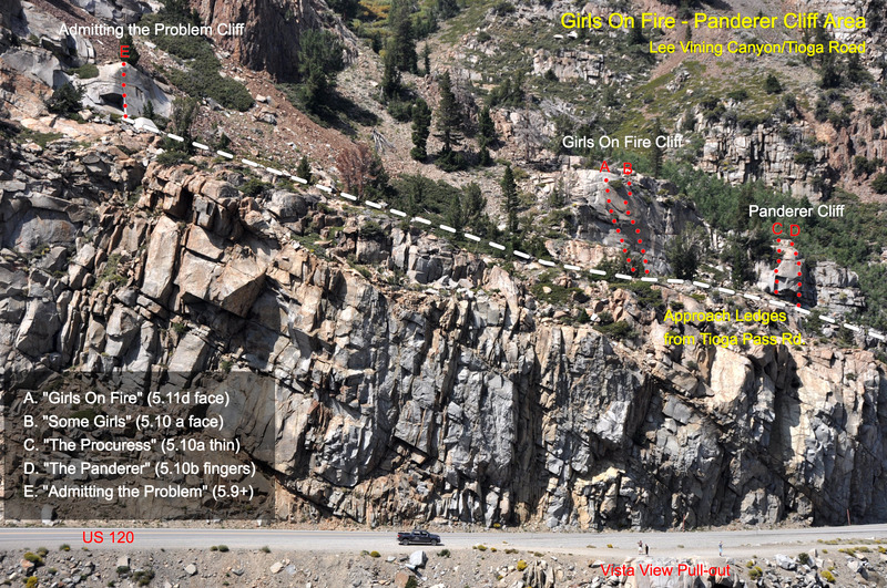 """""""Girls on Fire"""" (5.11d), the Panderer Cliff, and """"Admitting the Problem"""" (5.9+) taken from the top of the Demonology Cliff across Lee Vining Canyon."""