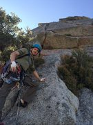 """Rock Climbing Photo: Pitch 6 crux (the """"5.8 offwidth"""") from b..."""
