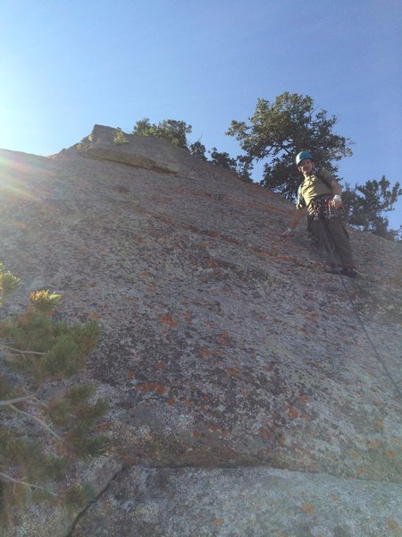 Rock Climbing Photo: The 7th pitch 5.7R slab, from there the climber go...
