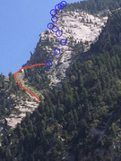Red line shows final part of approach. Blue circles are approximate location of belays. Photo taken from LCC road.