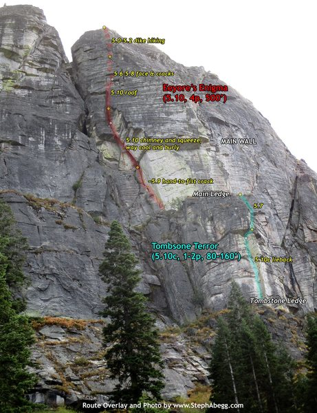 Rock Climbing Photo: Route Overlay for Eeyore's Enigma. Pitch ratings a...