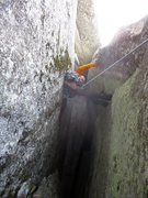 Rock Climbing Photo: On Pitch 3, you can either continue up the chimney...