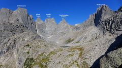 Rock Climbing Photo: part 1 of the traverse annotated (minus Pingora, t...