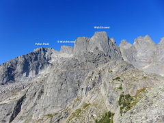 Rock Climbing Photo: part 2 of the Cirque traverse annotated