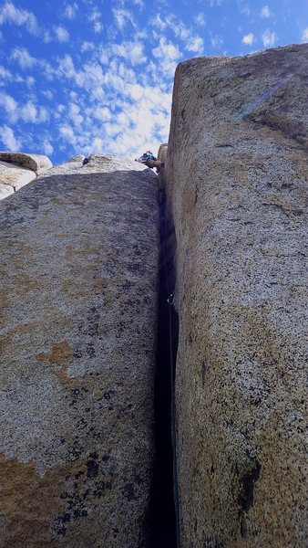 Rock Climbing Photo: Allison leading Enemy Within.  Aug 2015.