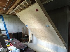 Rock Climbing Photo: after hanging the plywood (used jug holds for inst...